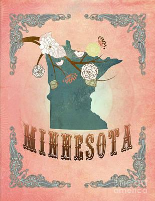 Modern Vintage Minnesota State Map  Original by Joy House Studio