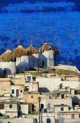 Windmill Painting - Mykonos Town by George Atsametakis