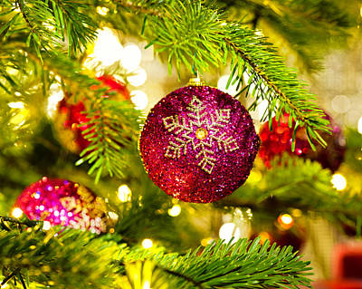 Ornament In A Christmas Tree Print by Ulrich Schade