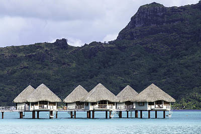 Moorea Photograph - Overwater Bungalows In Bora Bora by Mel Ashar