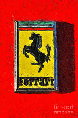 Coupe Painting - Painting Of Ferrari Badge by George Atsametakis