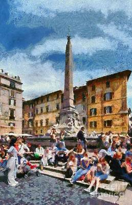 Central Painting - Piazza Della Rotonda In Rome by George Atsametakis