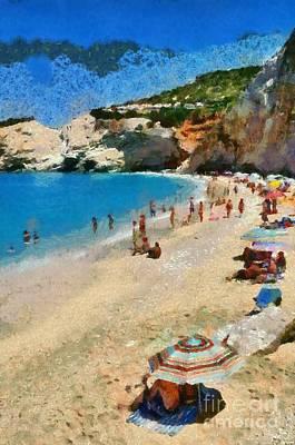 People Painting - Porto Katsiki Beach In Lefkada Island by George Atsametakis