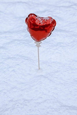 Snowbound Photograph - Red Balloon by Joana Kruse