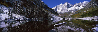 Cold Temperature Photograph - Reflection Of A Mountain In A Lake by Panoramic Images