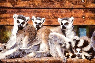 Bench Painting - Ring Tailed Lemurs by George Atsametakis