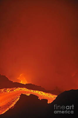 River Of Molten Lava Flowing To The Sea Print by Sami Sarkis