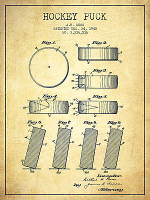 Roll Prevention Hockey Puck Patent Drawing From 1940 Print by Aged Pixel