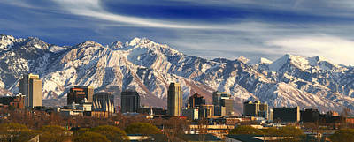 Salt Lake City Temple Photograph - Salt Lake City Skyline by Utah Images