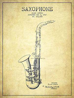 Saxophone Drawing - Saxophone Patent Drawing From 1937 - Vintage by Aged Pixel