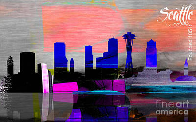 Seattle Skyline Mixed Media - Seattle Skyline Watercolor by Marvin Blaine