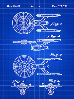 Enterprise Digital Art - Star Trek Uss Enterprise Toy Patent 1981 - Blue by Stephen Younts