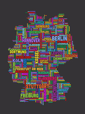 Germany Digital Art - Text Map Of Germany Map by Michael Tompsett