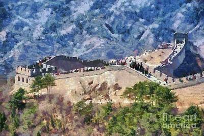 Ancient Painting - The Great Wall In China by George Atsametakis