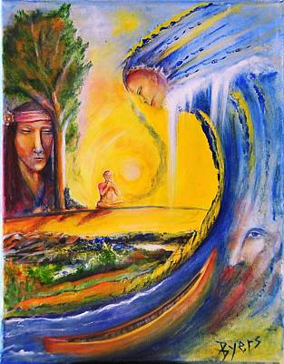 Canoe Waterfall Painting - The Island Of Man by Kicking Bear  Productions