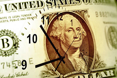 Macro Digital Art - Time Is Money Concept by Les Cunliffe