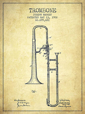 Trombone Drawing - Trombone Patent From 1902 - Vintage by Aged Pixel