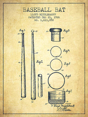 Vintage Baseball Bat Patent From 1926 Print by Aged Pixel
