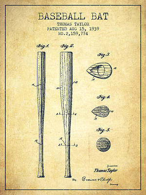Vintage Baseball Bat Patent From 1939 Print by Aged Pixel