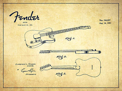 Technical Drawing - Vintage Fender Guitar Patent Drawing From 1951 by Aged Pixel