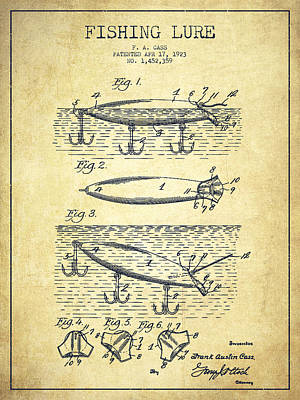 Vintage Fishing Lure Patent Drawing From 1923 Print by Aged Pixel