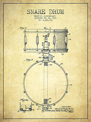 Drummer Drawing - Snare Drum Patent Drawing From 1939 - Vintage by Aged Pixel