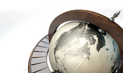 Country Schools Digital Art - Vintage Wooden World Globe by Allan Swart