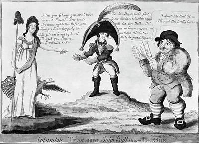American Eagle Painting - War Of 1812 Cartoon by Granger