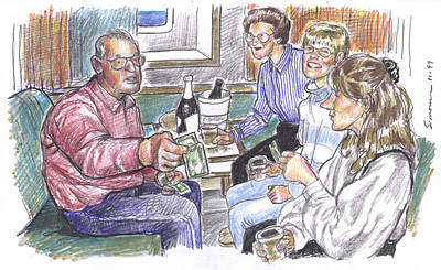 Sisters Drawing - 50th Anniversary Cruise by Douglas Simonson