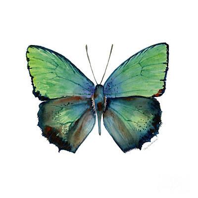 Lime Green Painting - 52 Arhopala Aurea Butterfly by Amy Kirkpatrick