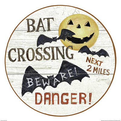 Halloween Painting - 5243 34a 1 Bat Crossing by David Carter Brown