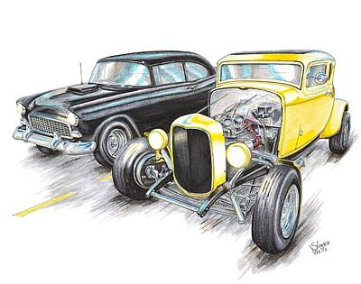 55 Chevy 32 Ford Racing Print by Shannon Watts