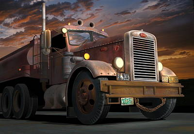 '55 Peterbilt Sunset Original by Stuart Swartz