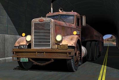 Old Trucks Digital Art - '55 Peterbilt Tunnel Scene by Stuart Swartz
