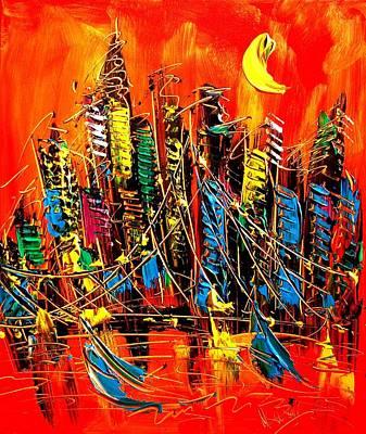 Old Man Fishing Painting - City by Mark Kazav