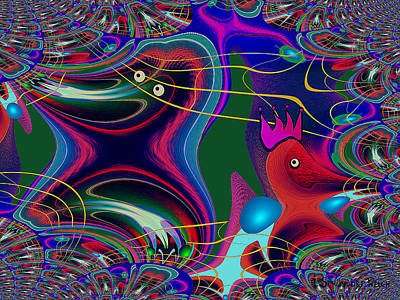 Fraktal Painting - 586 - Funny Birdies Abstract Fractal by Irmgard Schoendorf Welch