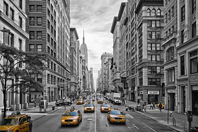 5th Avenue Yellow Cabs - Nyc Print by Melanie Viola