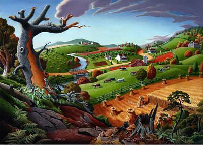 5x7 Greeting Card Autumn Wheat Harvest Rural Farm Landscape Original by Walt Curlee