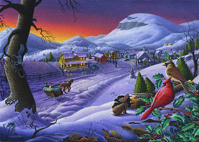 New England Snow Scene Painting - 5x7 Greeting Card Small Town Sleigh Ride And Cardinals Farm Landscape by Walt Curlee