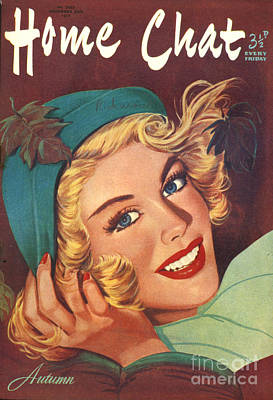 1950s Portraits Drawing - 1950s Uk Home Chat Magazine Cover by The Advertising Archives