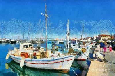 Vacation Painting - Aegina Port by George Atsametakis