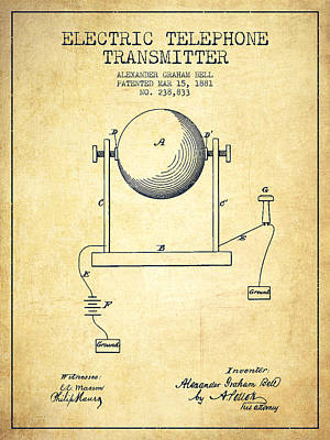 Alexander Graham Bell Electric Telephone Transmitter Patent From Print by Aged Pixel