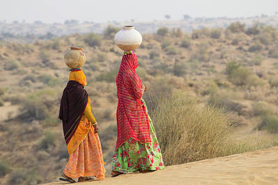 Water Jug Photograph - Asia, India, Rajasthan, Manvar, Desert by Emily Wilson