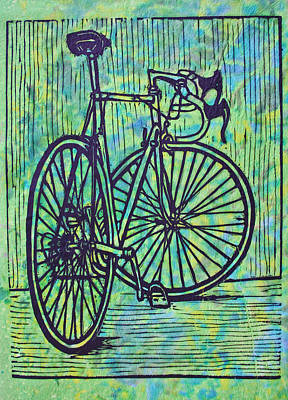 Lino Drawing - Bike 4 by William Cauthern