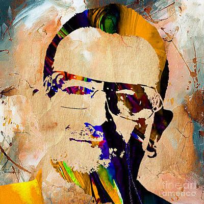 Band Mixed Media - Bono U2 by Marvin Blaine