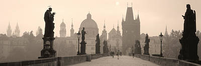 City Center Photograph - Charles Bridge Prague Czech Republic by Panoramic Images