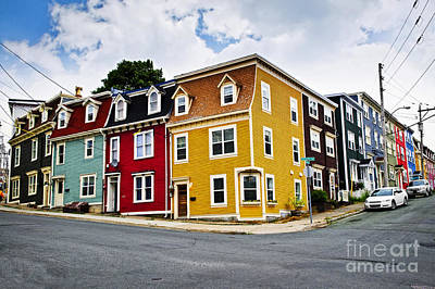 Corner Photograph - Colorful Houses In St. John's Newfoundland by Elena Elisseeva