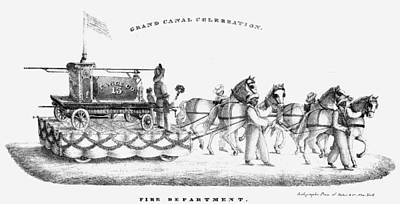 Adrift Painting - Erie Canal Opening, 1825 by Granger