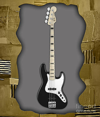 Poster Mixed Media - Fender Bass Guitar Collection by Marvin Blaine