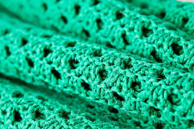 Warp-weft Photograph - Green Wool by Tom Gowanlock